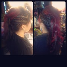 Side braid and fohawk with pravana red accents