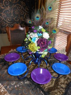 Elegant Peacock Wedding Centerpiece for food,Fruit, Candy or cupcakes. $299.00, via Etsy.