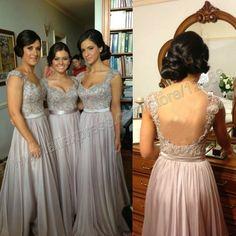Sexy Design Backless Cap Sleeve Chiffon Bridesmaid Dress 2014