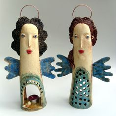 Ceramic Decor, Ceramic Pottery, Ceramic Art, Ceramic Lamps, Paper Dolls, Art Dolls, Pottery Angels, Ceramic Angels, Masks Art