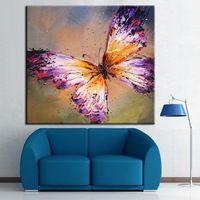 100% alta calidad pintada a mano arte de la pared, abstracta mariposa pintura al óleo, moderna decoración del hogar