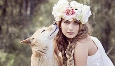 I grew up with Deborah Hartl. I used to work on her parents farm during my holidays growing up. She has always been really artistic and creative. She makes bridal hair pieces and fascinator and floral head bands. This is a photo of one of the models from her website modelling a floral head band. The canine is an Australian Dingo