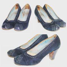 1940's CC41 blue suede shoes