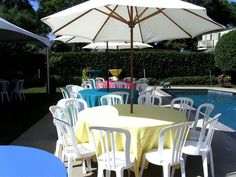 Poolside graduation party set up with Bistro Chairs - our most comfortable and most popular during the summer.