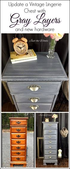 A vintage lingerie chest is given a new look with gray painted layers and new hardware. This painted lingerie chest went from brown and boring to beautiful. vintage lingerie chest is given a painted furniture makeover in painted layers of grays Diy Dresser Makeover, Bedroom Furniture Makeover, Painted Bedroom Furniture, Grey Furniture, Refurbished Furniture, Repurposed Furniture, Rustic Furniture, Vintage Furniture, Chest Furniture