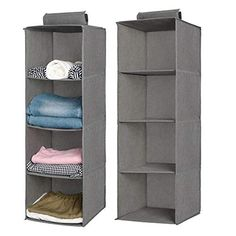 Aoolife Closet Hanging Shelves Organizer,Linen Cloth,Light and Breathable Collapsible Hanging Closet Organizer for Sock, Clothes, Bra, Toys and More Shelf- 2 Pack)