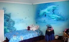 Tropical Kids' Room Decor Ideas - Find Beauty Tips & Tricks For Woman and Learn Health Issues Bedroom Themes, Girls Bedroom, Bedroom Decor, Bedroom Ideas, Bedroom Designs, Dolphin Bedroom, Ocean Room, Boys Room Design, Girl Room