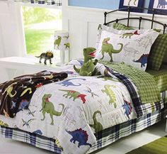 Dinosaurs DINOS Boys TWIN Comforter, Sham and Sheet Set (5 Piece Bed In A Bag) Green White Blue Red Dino Bedding http://www.amazon.com/dp/B00KVV862C/ref=cm_sw_r_pi_dp_Zf4dub1Q447DX