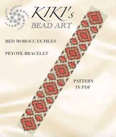 Peyote Pattern for bracelet - Red and gold tiles peyote bracelet pattern PDF instant download