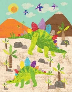 Dress up a bare wall with the Dinosaur Fun - Stegosaurus Canvas Wall Art from Oopsy Daisy. Canvas wall art is perfect for adding color and style to bedrooms, playrooms, nurseries and even bathrooms!