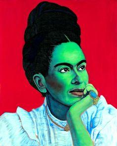 Jennifer Mondfrans  Frida Thinking - 2014   oil and acrylic on wood   41 x 51 cm