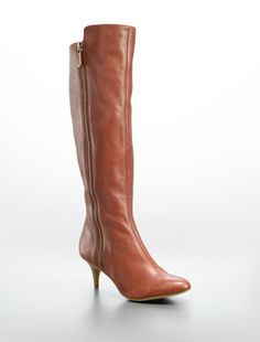 Jewel Tumbled Leather Zip Kitten Heel Boot by Calvin Klein