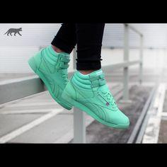 c59445b6722f Reebok Freestyle Hi Spirit Sneakers Hi top classic Reeboks in mint glow.  Velcro straps on