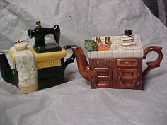 2 vintage novelty tea pots one is sewing machine and by designer2, $10.00