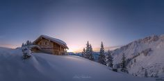 Sunrise at Mt. Hahnenkamm by Michael Boehmlaender on Our Planet Earth, Landscaping Images, Sky Landscape, Winter Beauty, Photos Of The Week, Virtual World, Winter Wonderland, Landscape Photography, Travel Photography