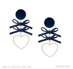 心結 hearts ribbon #冬 #ベルベット #ネイビー #ブルー #ハート #リボン