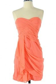 Dreaming of You Chiffon Drape Party Dress in Bright Peach by Minuet