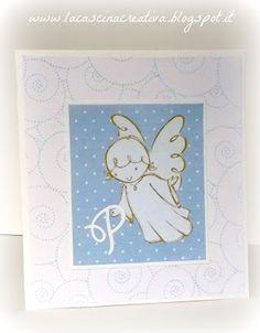 La Cascina Creativa: card con angelo custode per il Battesimo