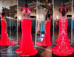 Red Formfitting Evening Gown-High Neckline-Beaded Train-Keyhole Back-116CLAR067560 at Rsvp Prom and Pageant, your source for the HOTTEST 2016 Prom and Pageant Dresses!