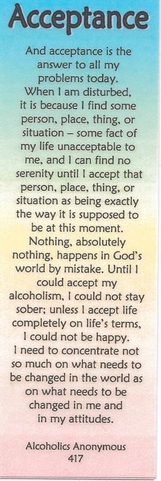 Acceptance - applies to more than just Sobriety