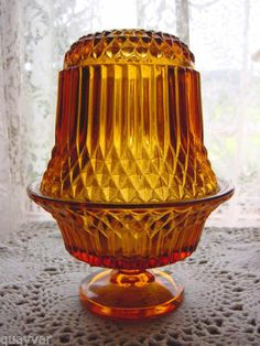 Vintage Rich Amber Flared Art Glass Large Footed Fairy Candle Holder Light Lamp | eBay