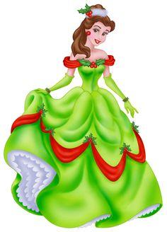 Disney Princesses Xmas Clip Art Images On A Transparent Background Disney Princess Belle, Princesa Disney Bella, Bella Disney, Disney Princess Dresses, Disney Girls, Disney Merry Christmas, Christmas Clipart, Disneyland Christmas, Disney Holidays