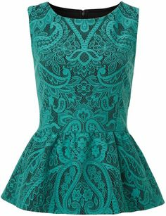 Therapy Bonded Lace Peplum Top in (green)
