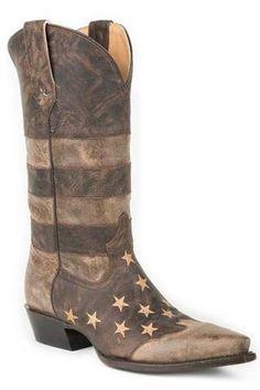 Roper Distressed Brown Vamp & Shaft Working Mans Flag Cowboy Boots - Urban Western Wear