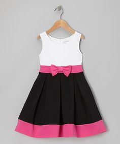 a look at this White & Black Bow Dress - Girls by Youngland on today!Take a look at this White & Black Bow Dress - Girls by Youngland on today! Little Girl Fashion, Kids Fashion, Little Girl Dresses, Girls Dresses, Baby Dress, The Dress, Dress Red, Kids Frocks, Toddler Girl Dresses
