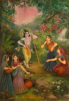 Krishna and the Gopis Hare Krishna, Krishna Lila, Little Krishna, Jai Shree Krishna, Lord Krishna Images, Radha Krishna Pictures, Radha Krishna Photo, Krishna Art, Krishna Photos