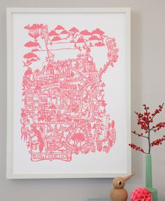 San Francisco hand screen printed city map | Famille Summerbelle