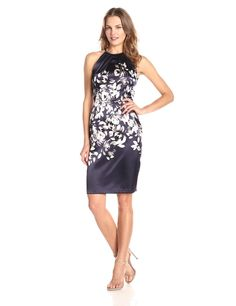 Floral Sheath Cocktail Dress by London Times