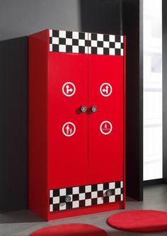 Armoire enfant à 2 portes et 1 tiroir FUNNY coloris rouge haute brillance