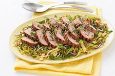 Serve up some grilled pork with a side of Asian-inspired slaw. This Thai Pork with Savoy Cabbage makes a great grilled entrée. The marinated pork is tender and juicy and the cabbage slaw is full of Asian flavour. Marinated Pork, Grilled Pork, Fried Pork Tenderloin, Pork Chops, Pork Noodles, Gf Recipes, Crockpot Recipes, Healthy Recipes, Pork Roast Recipes