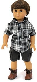 Plaid Shirt & Cargo Shorts Doll Clothes Made For 18 15 in American Girl Boy Doll American Girl Outfits, American Boy Doll, American Doll Clothes, American Fashion, My Life Doll Clothes, Minnie Mouse Swimsuit, 18 Inch Boy Doll, Black Boys, Girl Dolls
