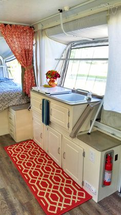 This is my Pop up renovation on a 2003 Coleman Bayside Elite camper #Pimpmypopup…                                                                                                                                                     More