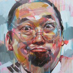 Artist: Pascal Vilcollet; Paris, France {contemporary figurative art male man funny expressive portrait painting #2good2btrue} <3 Vibrant !!