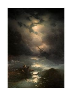 - Storm in North sea. Nocturne, Seascape Paintings, Landscape Paintings, Scary Paintings, Sea Storm, Moonlight Painting, National Art, North Sea, Find Art