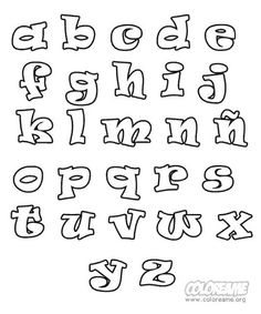 Coloring Pages Of The Alphabet For Kids Printable Hand Lettering Fonts, Doodle Lettering, Graffiti Lettering, Creative Lettering, Calligraphy Fonts, Typography Fonts, Lettering Design, Islamic Calligraphy, Alphabet Coloring Pages