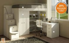 Mueble:  (Código B11) cama-marinera-con-escritorio  -  AGIOLETTO, Muebles Infantiles, Muebles Juveniles