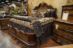 King Poster Canopy Bed Marble Top 5 Piece Bedroom Set Canopy