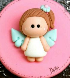 Angel First Communion Party Favor or gum paste decoration Communion Party Favors, First Communion Party, Polymer Clay Dolls, Polymer Clay Charms, Clay Projects, Clay Crafts, Clay Angel, Jumping Clay, Fondant Toppers