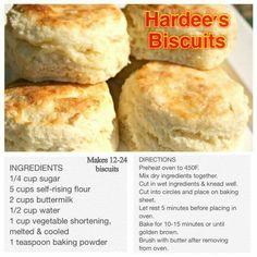 Hardee's Biscuit Recipe Biscuit Bread, Good Food, Yummy Food, Homemade Biscuits, Buttermilk Biscuits, Frozen Biscuits, Tea Biscuits, Biscuits And Gravy, Cookies