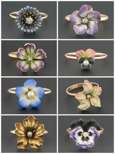 Antique enamel flower rings; stickpins converted into rings by Trademark Antiques.