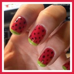 16 Cute French Nail Art Designs for Beginners Simple Nail Art Designs, Nail Designs Spring, Nail Polish Designs, Cute Nail Designs, Simple Art, Watermelon Nail Designs, Watermelon Nail Art, Watermelon Ideas, Watermelon Slices