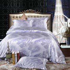 Fantasy Silvery Grey Jacquard Damask Luxury Bedding Furniture, Bed, Home, Luxury Bedding, Luxury, Damask Bedding, Beautiful Bedding, Bedding Sets, Home Decor