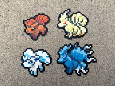 Vulpix | Alola Vulpix | Ninetales | Alola Ninetales | Pokemon | Perler Bead | Fuse Bead | 8bit | Nintendo | Sprite