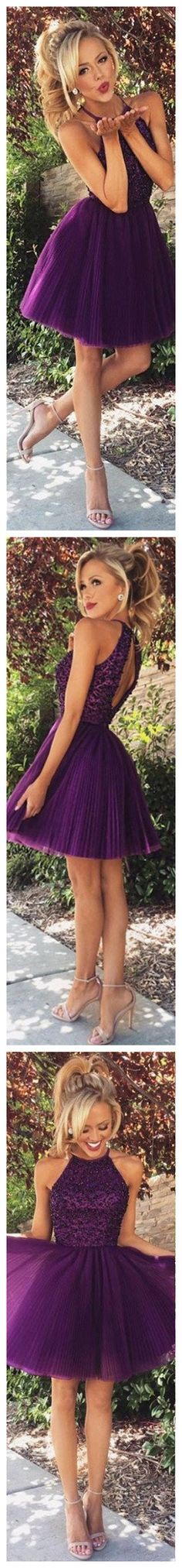 Halter High Neck Sleeveless Backless Ruched Embellished Purple Beaded Bodice Tulle Skirt,Amazing Homecoming Dresses