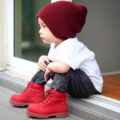 Them All Red Timberlands Are  Little Young Swag @biorkpink Looking Fresh...