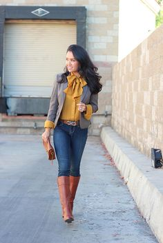 Mustard colored top + jeans with the ever classic cognac boots